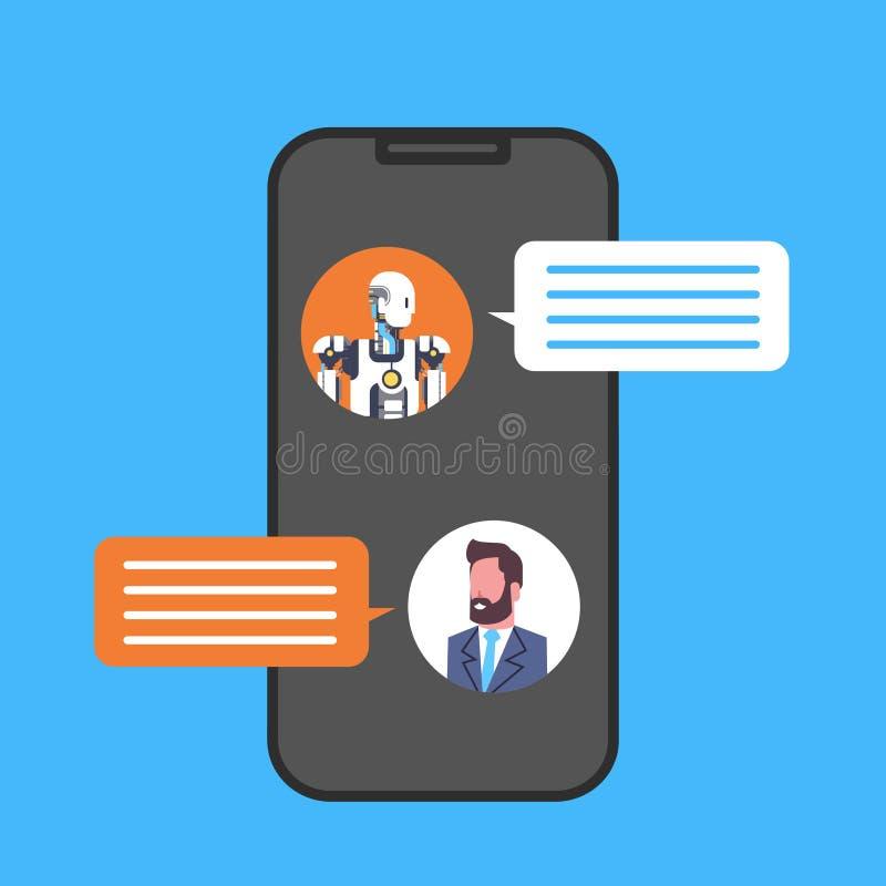 Homme d'affaires causant avec le service de Chatbot utilisant l'icône futée de téléphone de cellules illustration libre de droits
