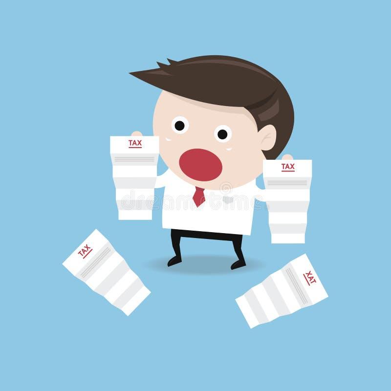 Homme d'affaires choqué quand il lisant les documents, impôt, DES plat illustration de vecteur