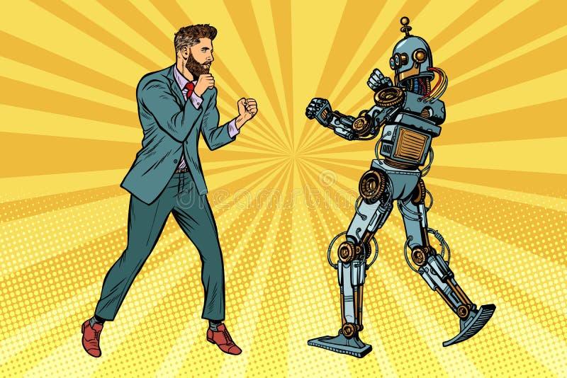 Homme d'affaires combattant avec un robot illustration libre de droits