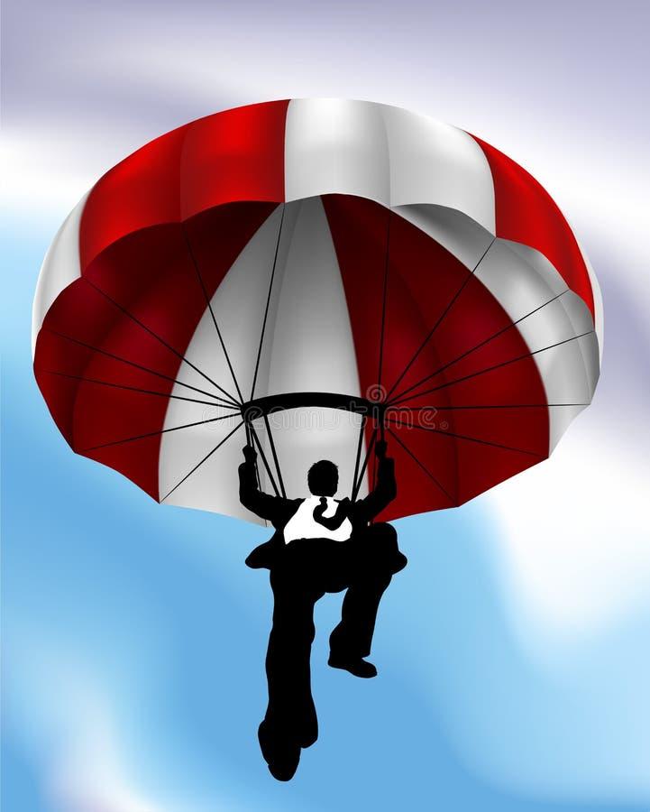 Homme d'affaires Concept de vol de parachute illustration stock