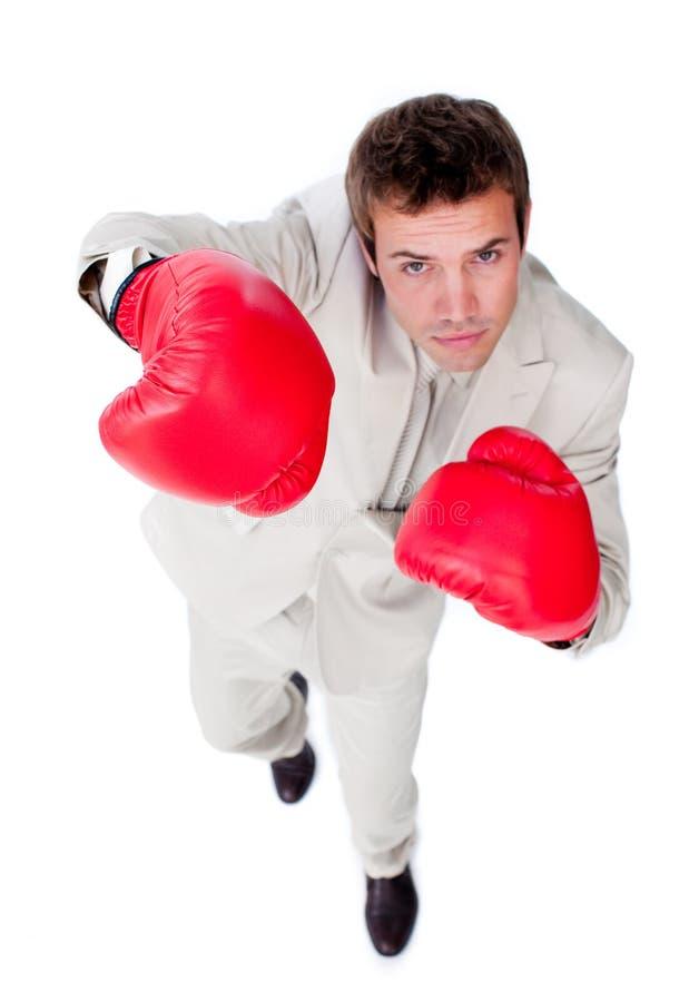 Homme d'affaires concurrentiel utilisant des gants de boxe photo libre de droits