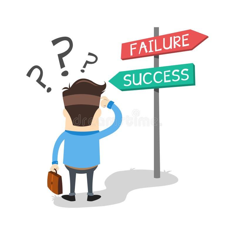 Homme d'affaires confus au succès illustration libre de droits