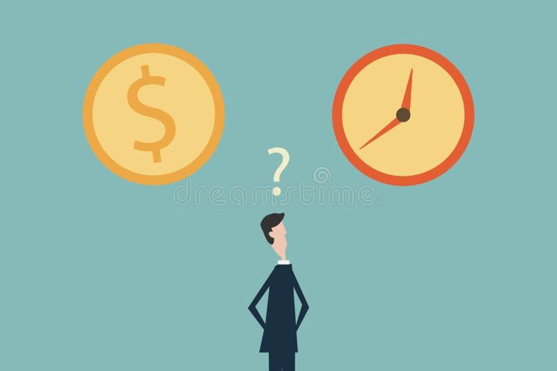 Homme d'affaires confus dans le choix entre le moment ou l'argent Symbole de réussite commerciale, défi, risque, courage Minimali illustration libre de droits