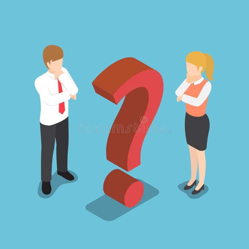 Homme d'affaires confus isométrique avec le signe de point d'interrogation illustration libre de droits