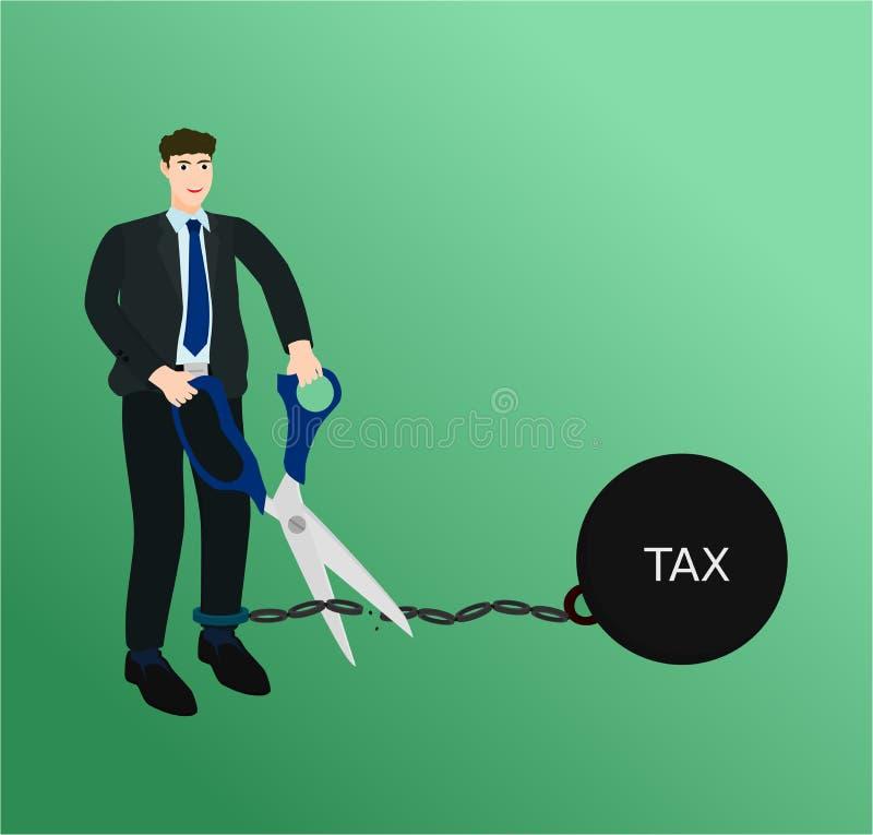 Homme d'affaires coupant l'impôt à chaînes avec des ciseaux illustration libre de droits