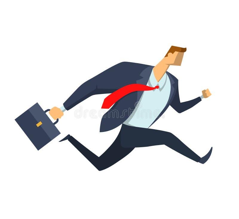 Homme d'affaires courant avec la serviette Dépêcher l'homme dans un costume Caractère dans le style plat, illustration de vecteur illustration libre de droits
