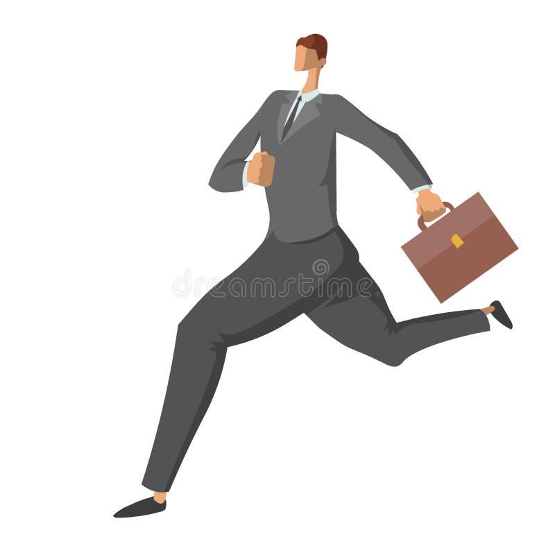 Homme d'affaires courant avec la serviette Dépêcher l'homme dans un costume Caractère dans le style plat, illustration de vecteur illustration de vecteur