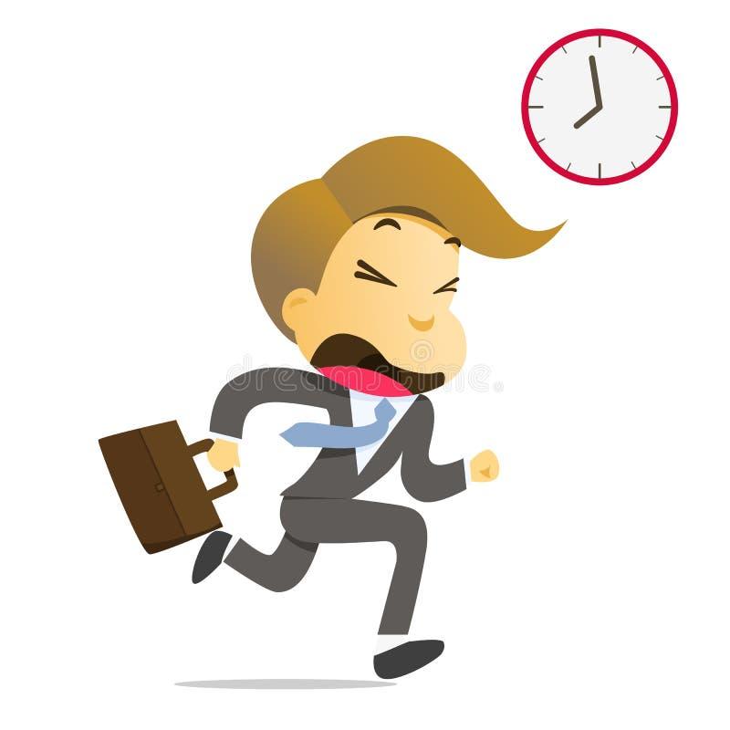 Homme d'affaires courant avec la serviette tard pour travailler illustration de vecteur