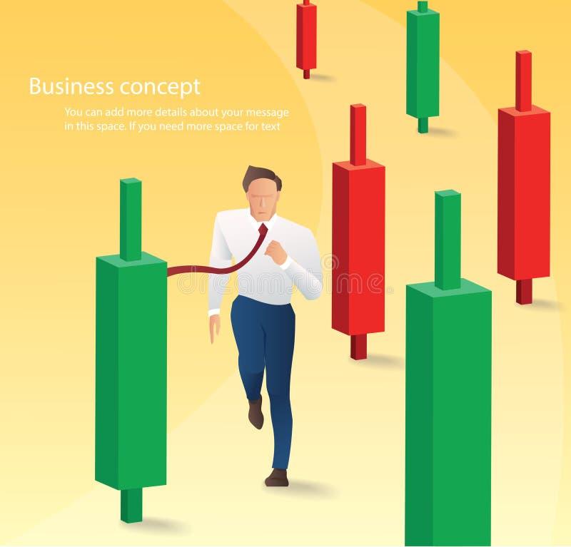 Homme d'affaires courant avec le fond de diagramme de chandelier, concept de marché boursier, illustration de vecteur illustration libre de droits