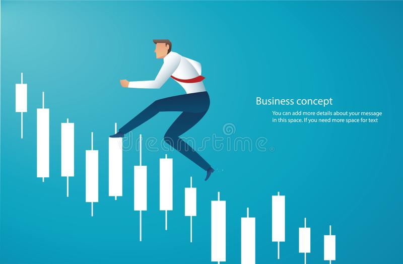 Homme d'affaires courant avec le fond de diagramme de chandelier, concept de march? boursier, illustration de vecteur illustration de vecteur