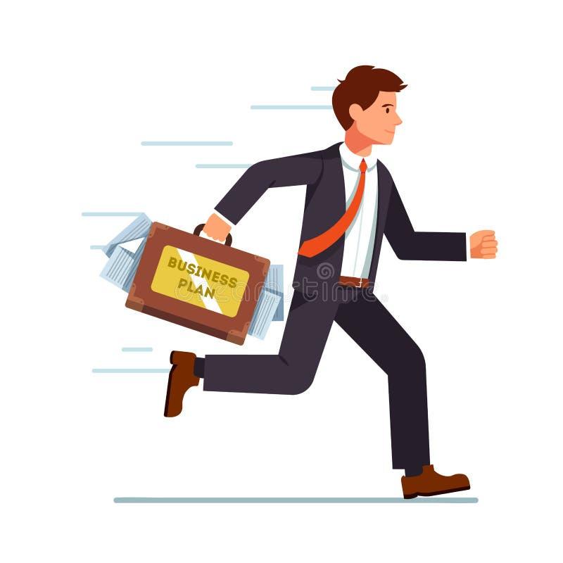 Homme d'affaires courant avec le plan d'action dans la valise illustration stock