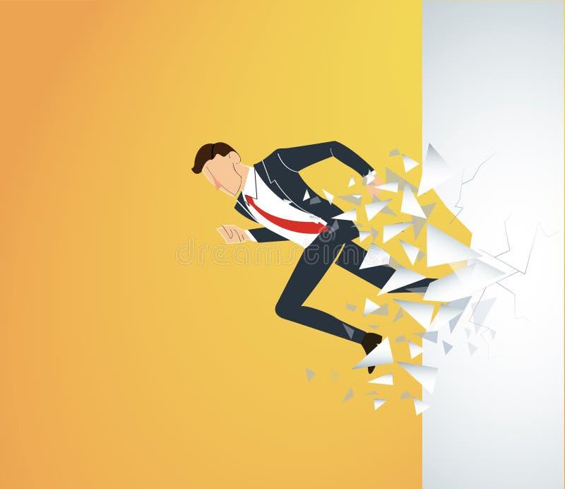 Homme d'affaires courant Breaking le mur au succès Illustration de concept d'affaires illustration de vecteur