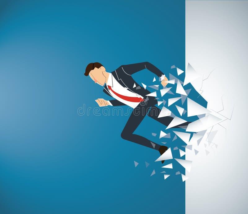 Homme d'affaires courant Breaking le mur au succès Illustration de concept d'affaires illustration libre de droits