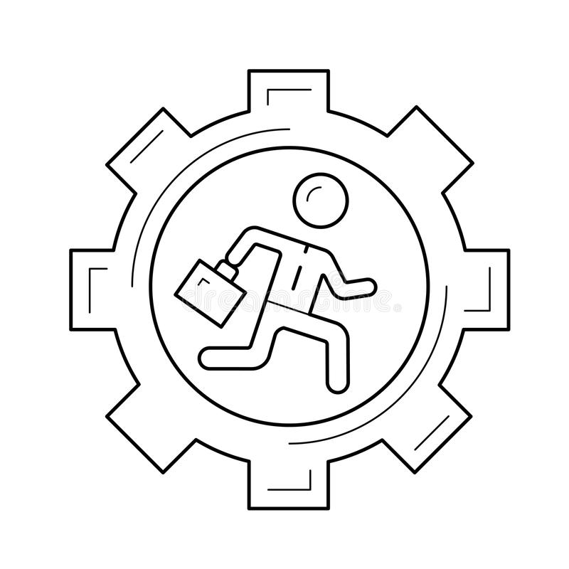 Homme d'affaires courant dans la ligne icône de vecteur de vitesse illustration de vecteur