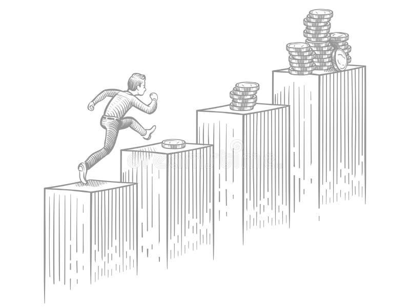 Homme d'affaires courant des escaliers avec des pièces de monnaie - affaires de croquis et illustration de vecteur de succès de c illustration stock