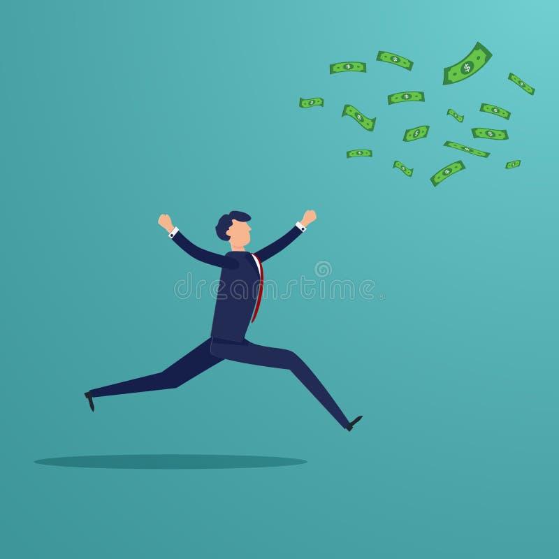 Homme d'affaires courant pour attraper le billet de banque d'argent qui coup loin concept d'affaires financier Thème de personnes illustration de vecteur