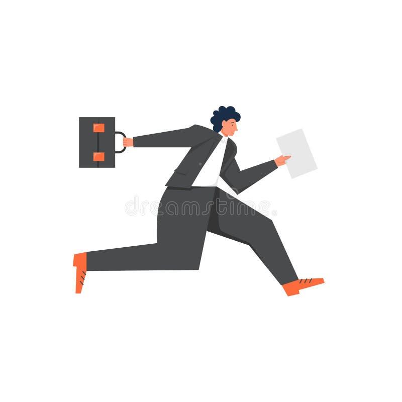 Homme d'affaires courant pour travailler, illustration plate de conception de style de vecteur illustration de vecteur