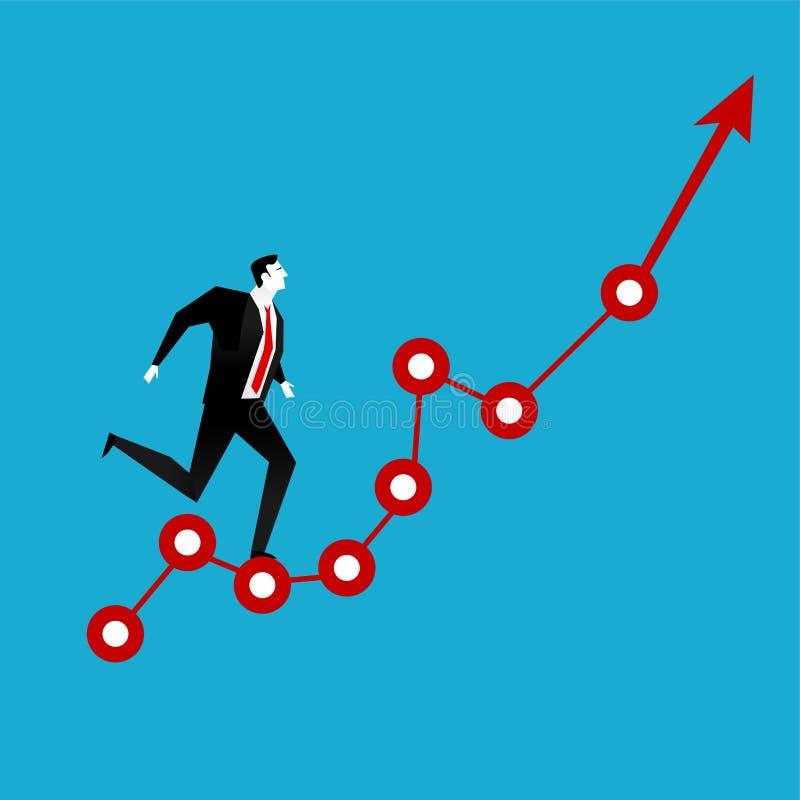 Homme d'affaires courant sur le graphique rouge de flèche  Visibilité d'affaires Concept d'accroissement d'affaires illustration stock