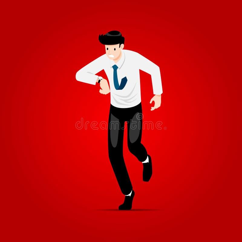 Homme d'affaires courant très rapidement en heure de pointe illustration stock
