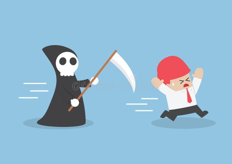 Homme d'affaires couru à partir de l'ange de la mort illustration de vecteur