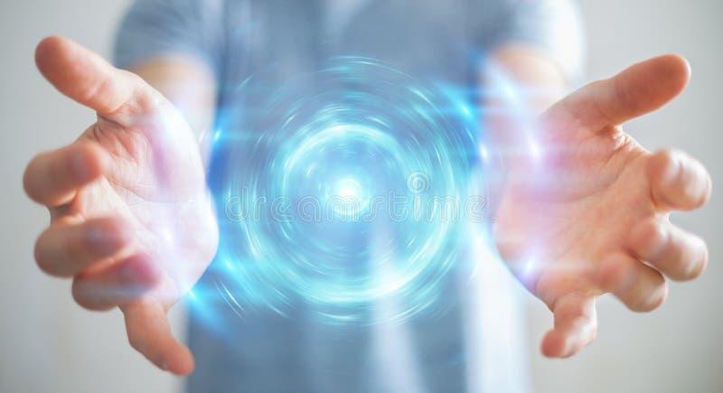 Homme d'affaires créant une nouvelle source d'énergie futuriste, rendu 3D photos stock