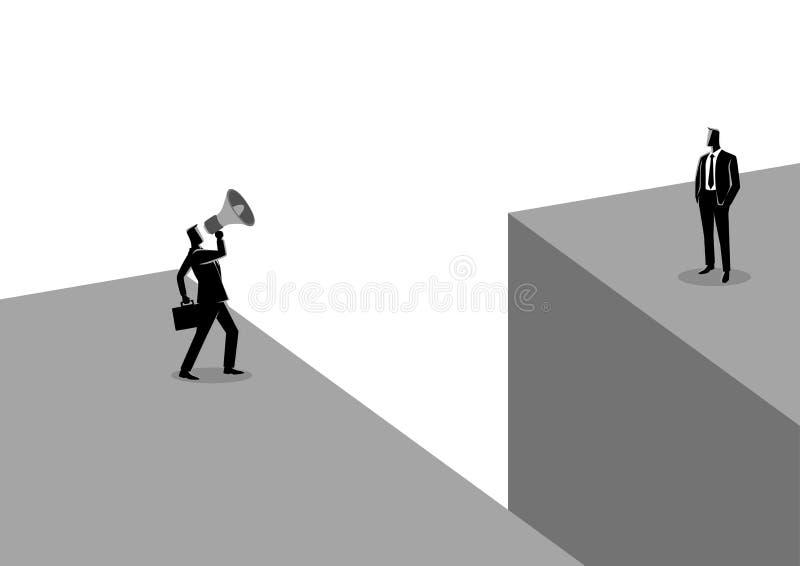 Homme d'affaires criant à un autre homme d'affaires avec le mégaphone illustration stock