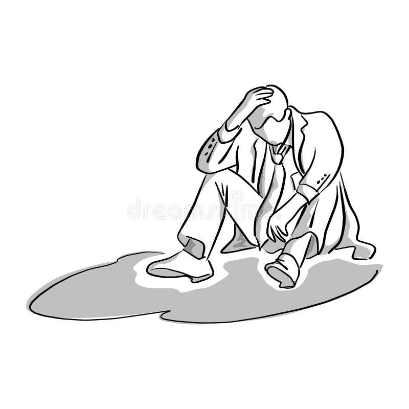 Homme d'affaires déçu s'asseyant sur l'illustrati moulu de vecteur illustration stock