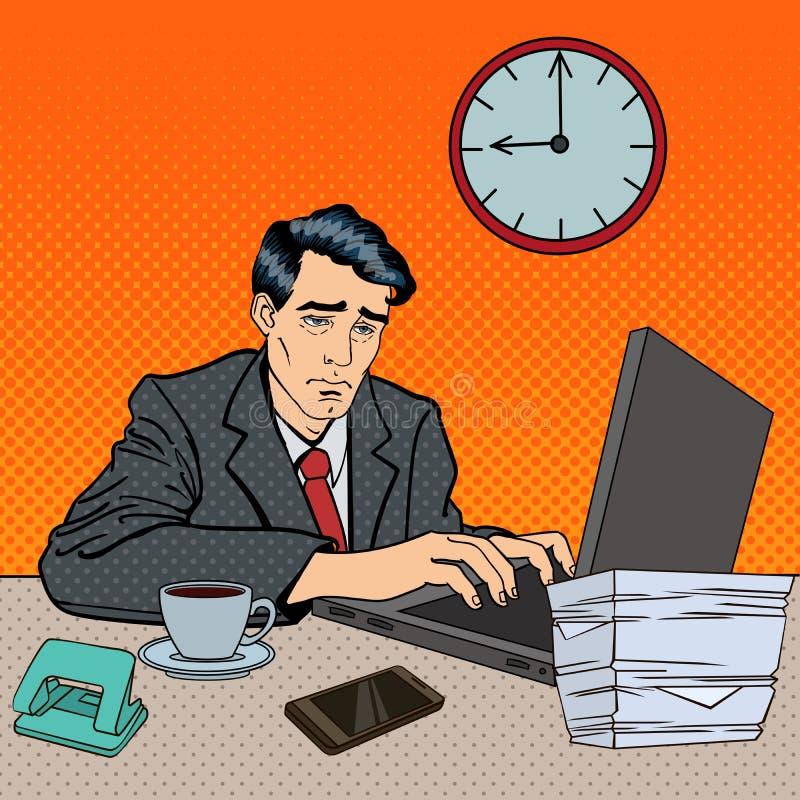 Homme d'affaires déprimé Stayed Late à l'art de bruit de travail illustration de vecteur