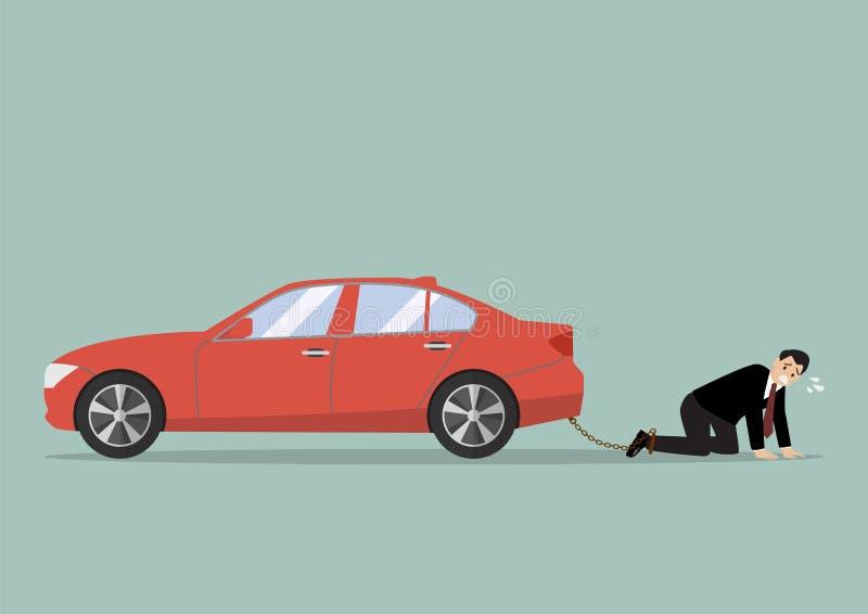 Homme d'affaires désespéré avec l'endettement de voiture illustration stock