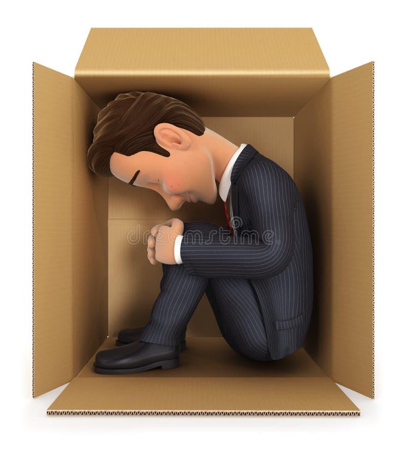 homme d'affaires 3d à l'intérieur de boîte en carton illustration stock