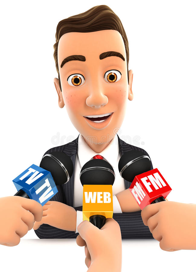 homme d'affaires 3d étant media interviewé illustration de vecteur