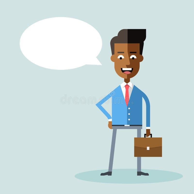 Homme d'affaires d'afro-américain dans le costume formel avec une serviette illustration stock