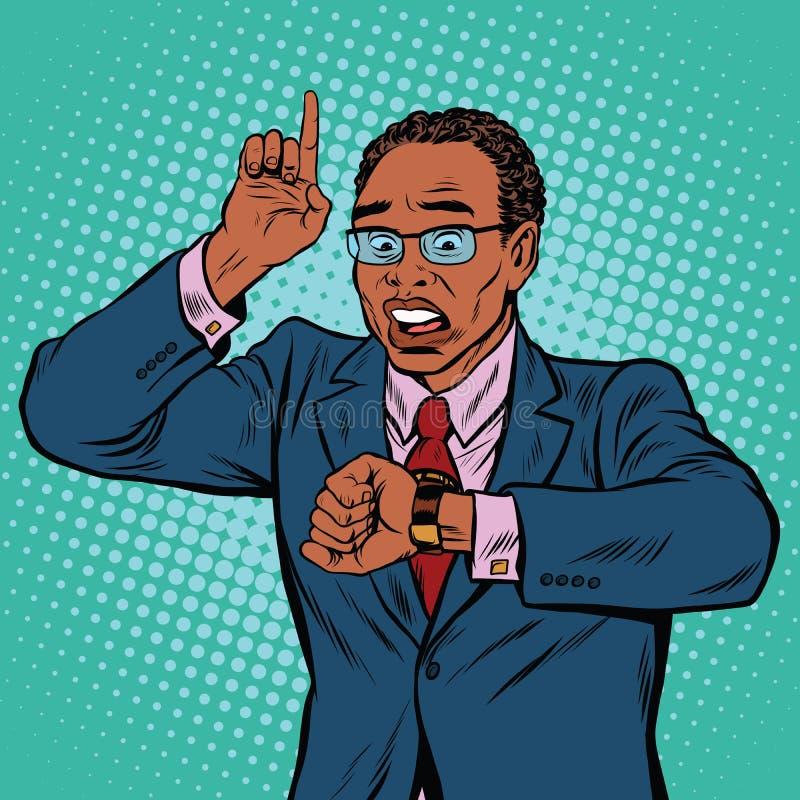 Homme d'affaires d'afro-américain regardant la montre-bracelet illustration libre de droits