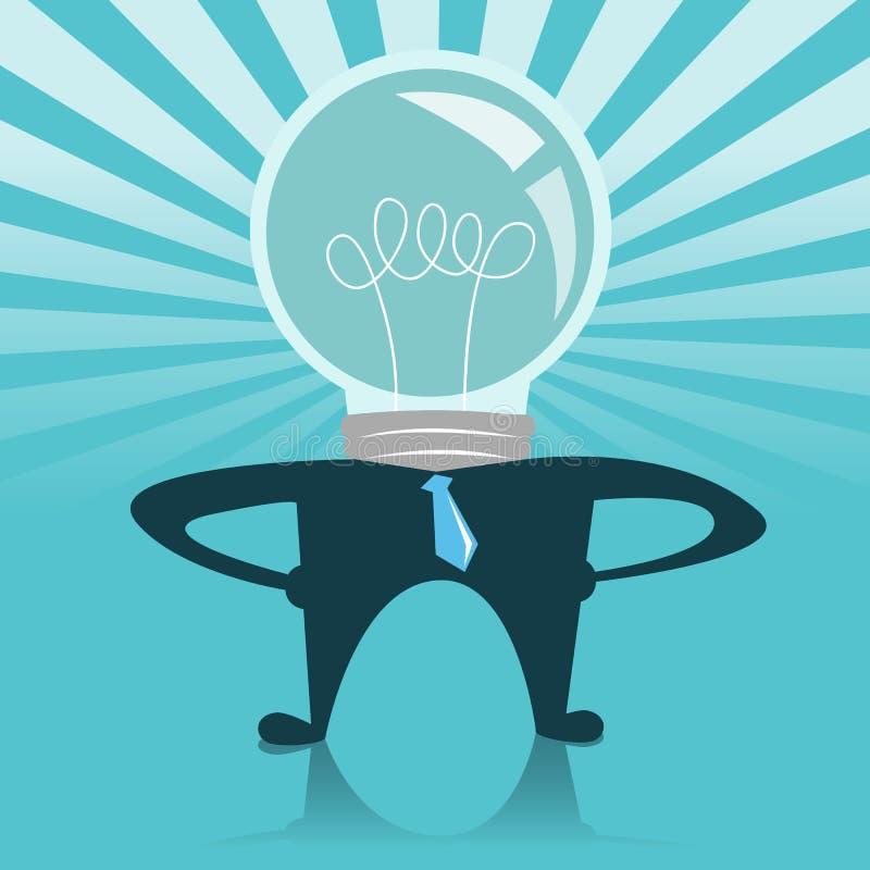 Homme d'affaires d'ampoule avec une lumière rougeoyante illustration stock