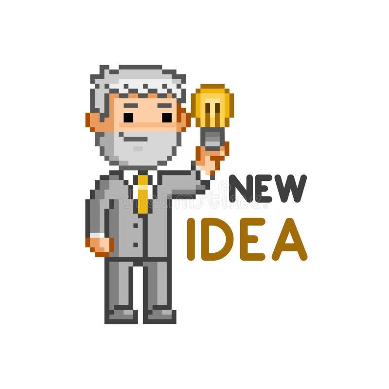 Homme d'affaires d'art de pixel de vecteur et nouvelle idée illustration de vecteur