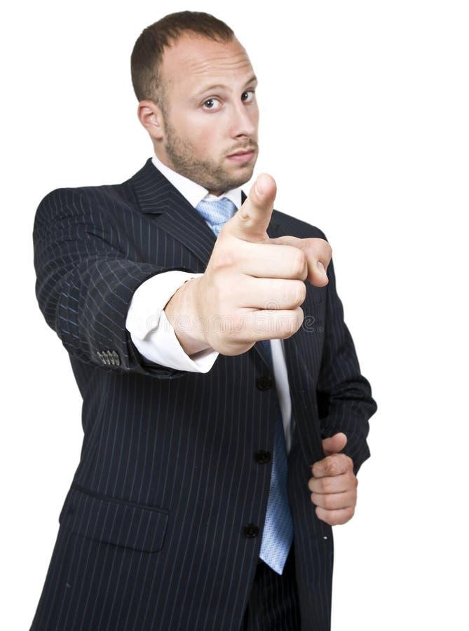 Homme d'affaires d'avertissement photo stock