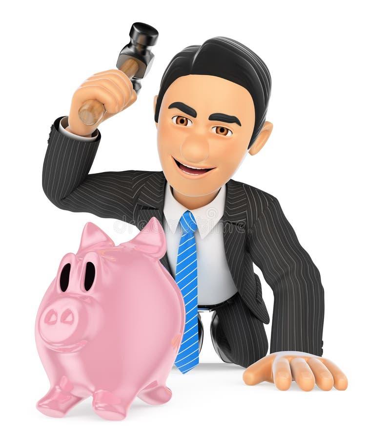 homme d'affaires 3D cassant une tirelire Dépensez l'épargne illustration libre de droits