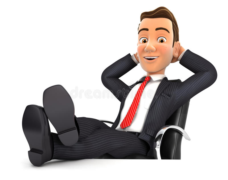 homme d'affaires 3d détendant avec des pieds sur son bureau illustration de vecteur