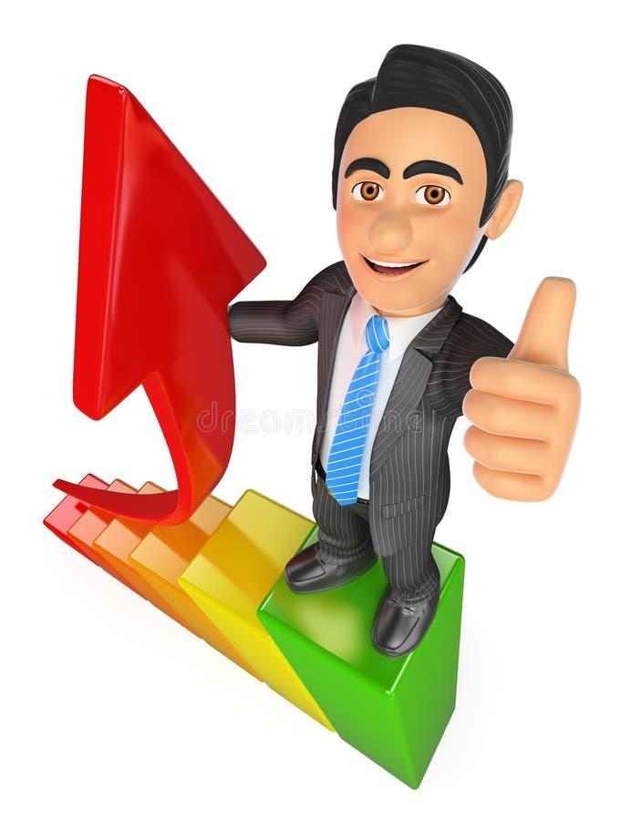homme d'affaires 3D dans le dessus d'une barre analogique Métaphore de croissance illustration libre de droits