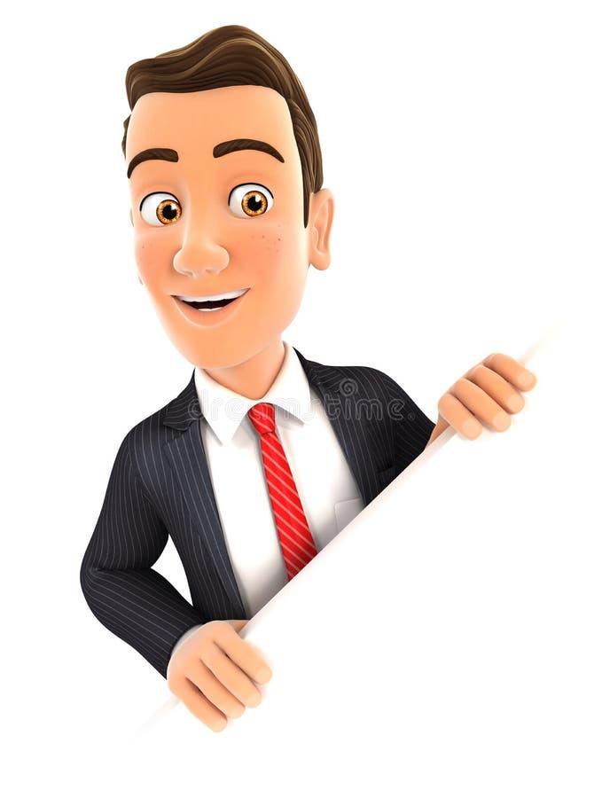 homme d'affaires 3d derrière le mur diagonal illustration stock