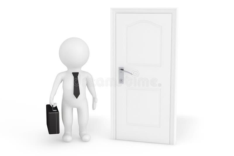homme d'affaires 3d devant une porte illustration libre de droits