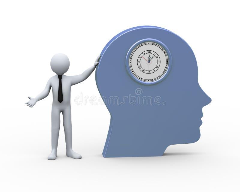 homme d'affaires 3d et chef humain avec l'horloge illustration libre de droits