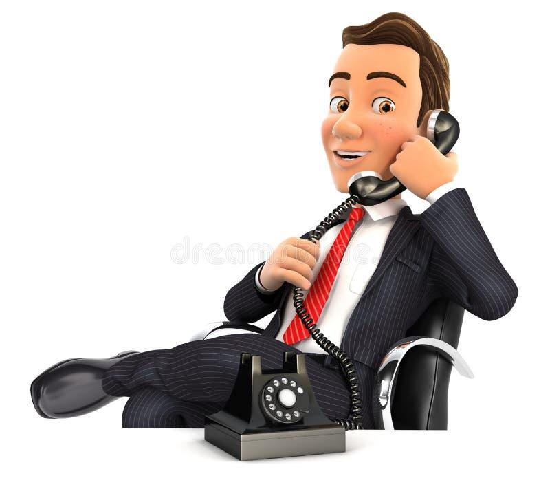 homme d'affaires 3d faisant un appel téléphonique illustration stock