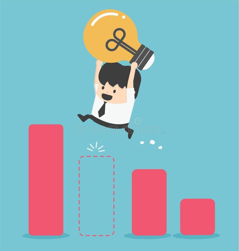 Homme d'affaires d'illustration Jump Through The Gap dans l'échelle de croissance illustration stock