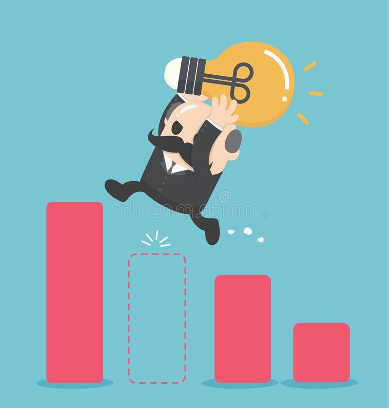 Homme d'affaires d'illustration Jump Through The Gap dans l'échelle de croissance illustration libre de droits