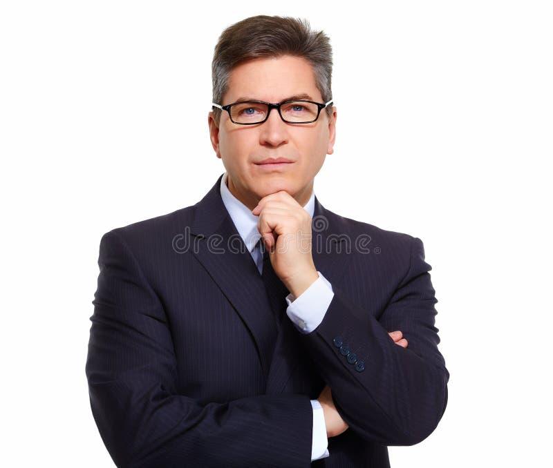 Homme d'affaires d'isolement sur le blanc. image stock