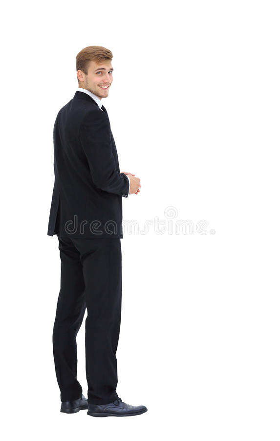 Homme d'affaires d'isolement sur le blanc Vue de côté image stock