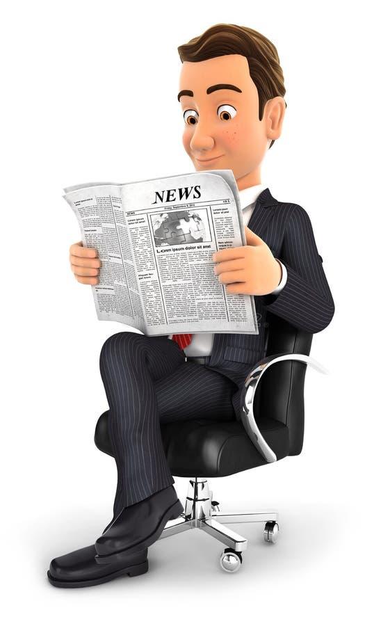 homme d'affaires 3d lisant un journal illustration de vecteur