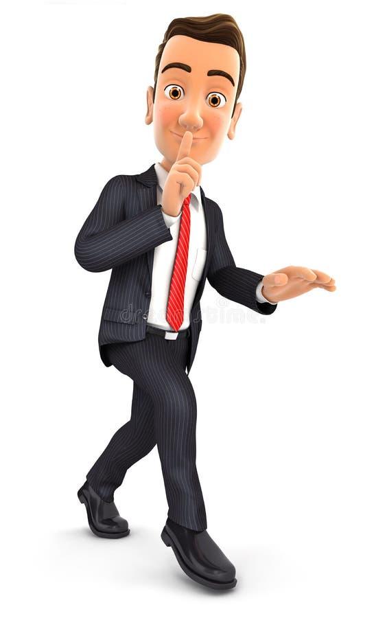 homme d'affaires 3d marchant sur la pointe des pieds illustration stock