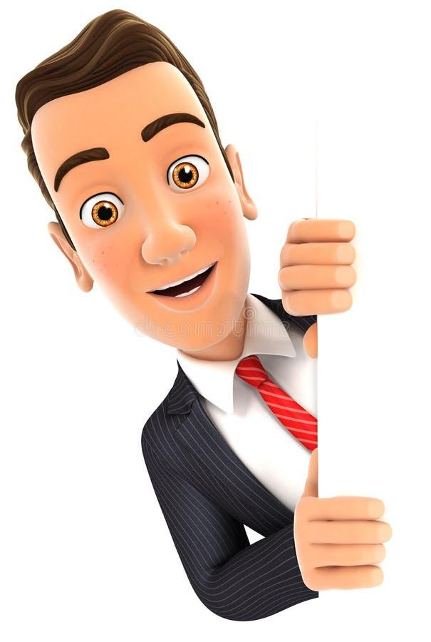 homme d'affaires 3d piaulant au-dessus du mur vide illustration stock